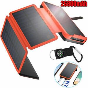 Solar Power Bank 4 Panel Portable Charger 26800mAh External Battery Pack USB New