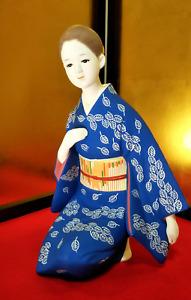 Antique Japanese Geisha Doll Porcelain in Kimono Blue Traditional Vintage
