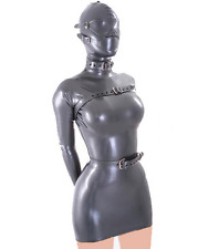Platex Latex Rubber Bodycon Mini Dress with hood, eye mask, mouth cover and belt