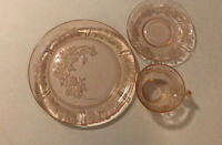 "3 Pieces, Pink Depression Glass Sharon Cabbage Rose 6"" Saucer & Cup, & 9"" Plate"