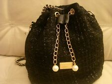 NEW BLACK HOBO LEATHER LIKE FABRIC SPARKLE PURSE BAG TOTE GOLD HARDWARE PEARL