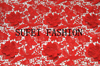 A23313D Guipure Lace 120cm wide in Ivory, red, black, rose-gold sold by 0.5 yard