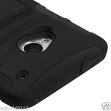 HTC One (M7) Hybrid AA Armor Case Skin Cover w/ Kickstand Black