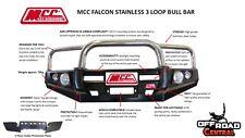 MCC 4X4 FALCON STAINLESS BULL BAR, TOYOTA 80 SERIES LAND CRUISER, ADR, 4WD