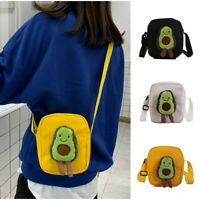 Women Creative Avocado Shoulder Bags Canvas Bags Crossbody Bags Messenger Bags