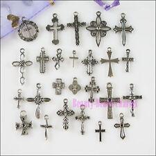 50Pcs Mixed Lots of Tibetan Silver Tone Cross Charms Pendants