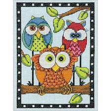 OWL TRIO Counted Cross Stitch Kit Dimensions 70-65159 5x7 inch NEW