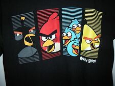 Angry Birds Men's T-Shirt Size S Black Red Blur Yellow video Game Graphic Tee