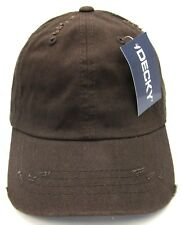 eb23e5bbd3557 Distressed Unconstructed Cap DECKY Dad Hat Curved Visor Adjustable Dark  Brown