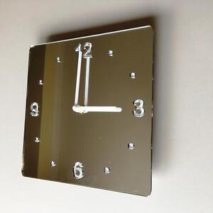 Square Silver Mirror & White Clock, White Back White Hands Silent Sweep Movement