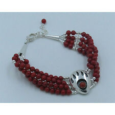 4 Strand 925 Sterling Silver Natural Red Italian Coral Beaded Bear Paw Bracelet