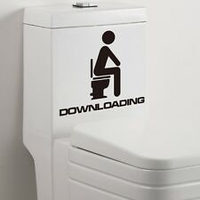 """Downloading"" Bathroom Vinyl Wall Decal Quote Saying Graphic Toilet Seat Sticker"