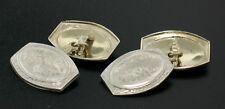 Men's Antique Art Deco Solid 14k White Gold Damask Etched Oval Panel Cufflinks