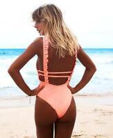 Costume da bagno intero monokini rosa pesca con schiena nuda scoperta donna sexy