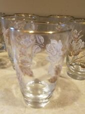 Libbey Crystal Tumblers White & Gold Rose Bouquet Set of 7