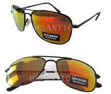 New Steve Madden Unisex Sunglasses SM462231 Black/Orange mirrors $40