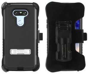 BLACK RUGGED TRI-SHIELD STAND CASE BELT CLIP HOLSTER SCREEN PROTECTOR FOR LG G5