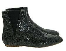 LOEWE BLACK SEQUIN FLAT BOOTIES, 38, $1100
