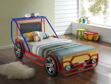 NEW IN - Childrens 3ft Single Red & Blue Metal Jeep Car Bed Frame