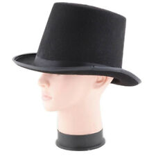 Adult Magician Magic Costume Black Polyester Felt Tall Top Hat Steampunk Exquisi