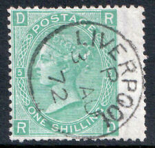 Great Britain QV 1867 1s 1/- Green Plate 5 RD Liverpool CDS SG117 Fine Used FU