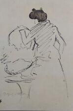 Jacques VILLON (d'après) -  Femme modèle - Croquis signé  #1959