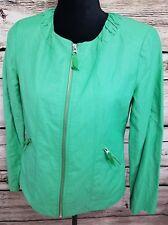 Chicos Womens Size 0 Full Zippered Jacket Green Cotton/Nylon Blend Patricks Day