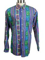 Vintage Nautica Mens Large Shirt Button Front Long Sleeves Multicolor Paisley