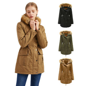 Women's Winter Warm Pocket Zipper Long Sleeve Hoodie Coat Hooded Overcoat