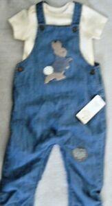 M & S Babies PETER RABBIT Denim Dungaree & Cream Bodysuit Set 12-18 Months BNWT.