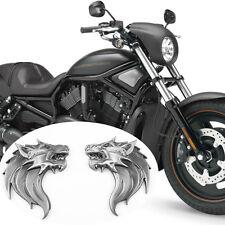 2 PZ Nero 3D WOLF HEAD logo Adesivi Decalcomanie 100% IN METALLO emblem badge per Harley