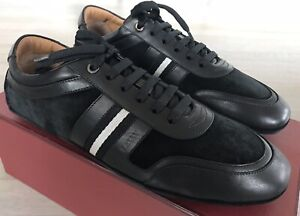 600$ Bally Hunko Black Leather and Suede Sneakers size US 10 Made in Italy