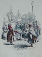 Grabado Realzado Colores Antiguo Oficios Los Cris de Paris Pauquet Gerard 1841