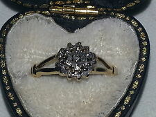 Or 9 ct diamants vintage art deco ANTIQUE RING-TAILLE I