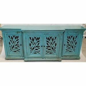 Made to Order JALI Carved Wooden 4 Door Sideboard Blue L