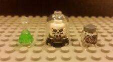 Lego NEW Minifig HALLOWEEN MAD SCIENTIST LAB GEAR- Monster Skull Flask Brain Jar