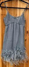 Rebecca Taylor $350 Gray Silk Babydoll Dress Ostrich Feathers Size 4 Euc