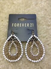NEW Forever 21 BOHO Fashion Filigree Rhinestones Gold Teardrop Dangle Earrings