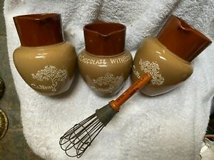 3 X VICTORIAN BOURNVILLE CADBURY COCOA JUGS AND RARE ADVERTISING WHISK