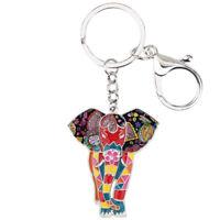 Enamel Alloy Elephant Key Chain Ring For Women Bag Purse Pendant Jewelry Charms