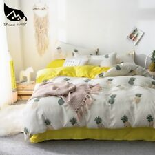 Yellow King Bedding Set For Pineapple Washed Cotton Super Soft Quilt Duvet