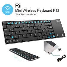 Rii K12 UltraSlim Wireless Keyboard Mouse Touchpad Metal Tablet/Phone BLACK