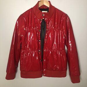 Chaser Red Shiny Vinyl Puffer Jacket Womens Sz Medium EUC