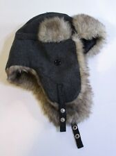 Urban Pipeline Earflap Trapper Aviator Winter Hat Gray Brown Faux Fur Wool Blend