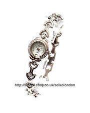 Omax Reloj con Cuadrante Blanco señoras, acabado en plata, Seiko (Japón) Movt. RRP £ 49.99