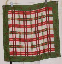 "TERRIART Red & Green Plaid, Deer & Spade, Floral Bord SILK 20"" Sq Scarf-Vintage"