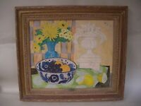 Lg Fred Jessup Floral China Bowl Fruit Vase Oil Painting Gold Gilt Frame