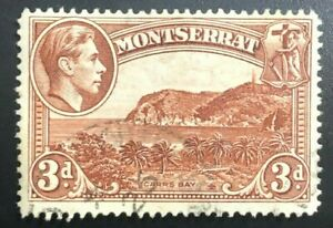 Montserrat KGVI 1938-48   3d Brown 'Tower on Hill' Flaw (Collectible Stamp)
