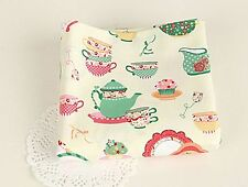 Tea time 100% Cotton Fabric Quilting Cups floral Teacups teapots cupcake fft217-