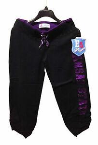 Kansas State Wildcats Graphic Capri Sweatpants w/ Bling, Black/Purple, Large
